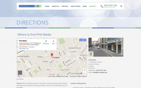 Screenshot of Maps & Directions Page pha-media.com - Directions - captured Dec. 6, 2015