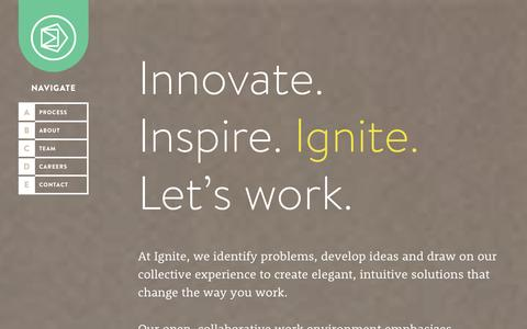 Screenshot of Home Page ignitewithus.com - Ignite - captured Oct. 6, 2014