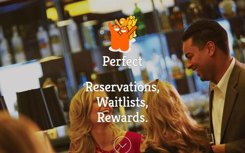 Screenshot of Home Page getperfect.com - Perfect | Reservations, Waitlist, and Rewards management for restaurants - captured Oct. 6, 2014