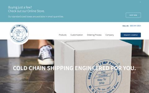 Screenshot of Home Page rncind.com - R.N.C Industries - Cold Chain Shipping Solutions - captured Dec. 6, 2016