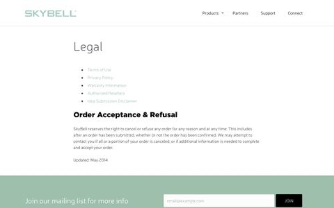 Screenshot of Terms Page skybell.com - Legal - SkyBell WiFi Doorbell - captured Oct. 16, 2016