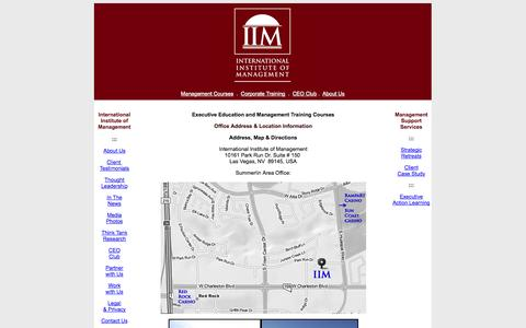 Screenshot of Contact Page iim-edu.org - Contact International Institute of Management - Management Training Courses: Management Courses in USA including Las Vegas, New York (NYC) and Miami - Senior Management Courses in London, Dubai, and Bangkok - captured Oct. 6, 2014