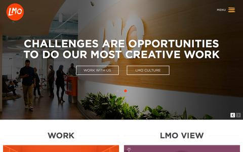 Screenshot of Home Page lmo.com - LMO Advertising - Advertising and Marketing Agency - DC, Arlington, Baltimore - captured Jan. 23, 2016