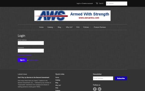 Screenshot of Login Page awsarms.com - Account – Armed With Strength - captured Oct. 4, 2014