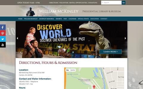 Screenshot of Maps & Directions Page mckinleymuseum.org - Directions and Hours | McKinley Museum - captured Feb. 4, 2016