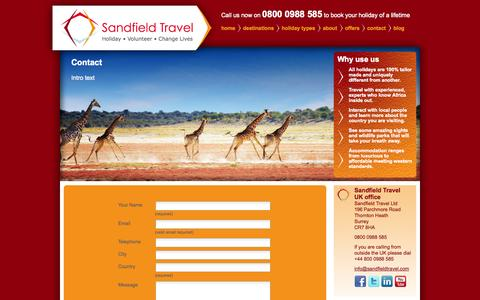 Screenshot of Contact Page sandfieldtravel.com - Volunteering Trips & Safari holidays to Africa, Uganda, Kenya, Tanzania, Zambia and Rwanda - captured Oct. 4, 2014