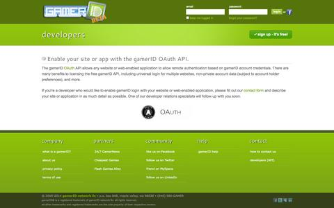 Screenshot of Developers Page gamerid.com - gamerID - Developers - captured Sept. 30, 2014
