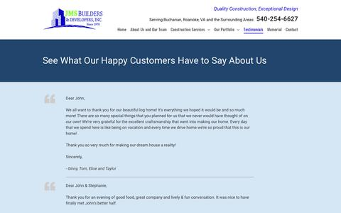 Screenshot of Testimonials Page jmsbuilders.com - JMS Builder & Developers Inc. Testimonials | Buchanan, VA - captured Sept. 25, 2018