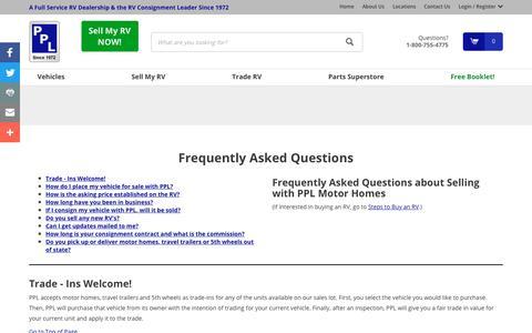 Screenshot of FAQ Page pplmotorhomes.com - FAQ about Selling with PPL Motor Homes | PPL Motor Homes - captured Sept. 28, 2018