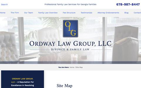 Screenshot of Site Map Page ordwaylawgroup.com - Site Map | Ordway Law Group, LLC | Atlanta, Georgia - captured Oct. 19, 2018