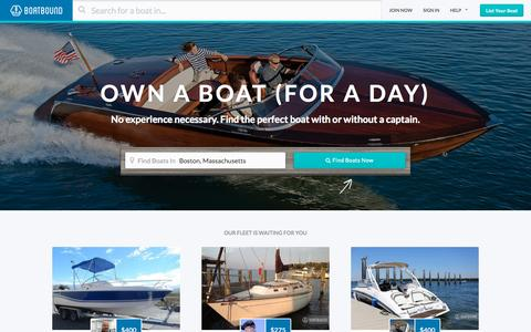 Screenshot of Home Page boatbound.co - Boat Rentals, Charter Boat Rentals, House Boat Rentals on Boatbound - captured Oct. 1, 2015