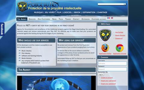 Screenshot of policedunet.com - The Agency - Police du Net | Protection du droit d'auteur pour contenus numériques | Films | Musiques | Logiciels | Livres | - captured June 17, 2015