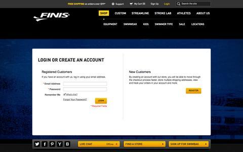 Screenshot of Login Page finisinc.com - Customer Login | FINIS - captured Sept. 19, 2014