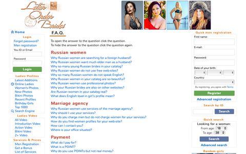 Screenshot of FAQ Page letter-order-brides.com - Letter Order Brides :: F.A.Q. - captured Oct. 24, 2018