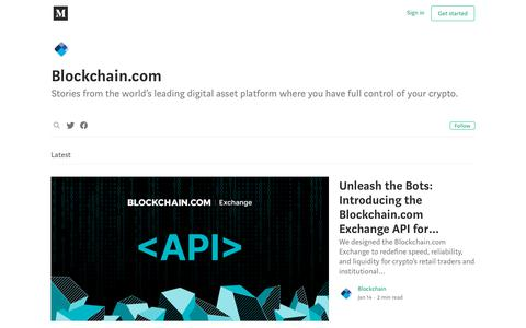 Screenshot of Blog medium.com - @blockchain – Medium - captured Jan. 18, 2020