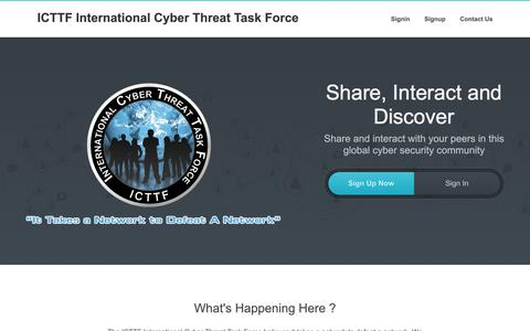 Screenshot of Home Page icttf.org - ICTTF - International Cyber Threat Task Force - ICTTF International Cyber Threat Task Force - captured June 23, 2017