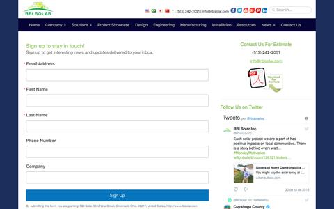 Screenshot of Signup Page rbisolar.com - Sign Up for Best Solar Mounting Solutions by RBI Solar - captured Aug. 1, 2018