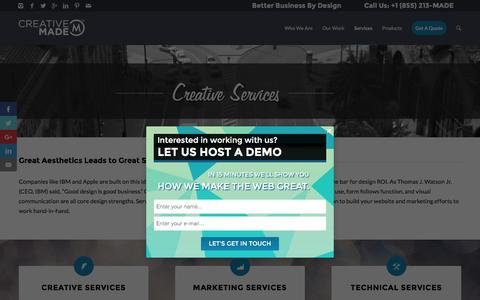 Screenshot of Services Page creativemade.com - Creative Made Creative Services in Orange County - captured Feb. 1, 2016