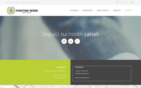Screenshot of Contact Page startingwork.it - Centro Formativo Starting WorkContatti - Centro Formativo Starting Work - captured Jan. 27, 2016