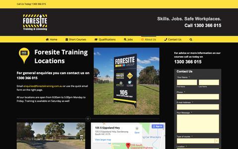 Screenshot of Locations Page foresitetraining.com.au - Foresite Training Locations throughout Austrailia - captured Dec. 10, 2018