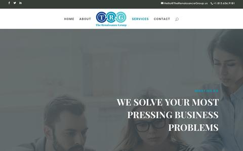 Screenshot of Services Page Team Page therenaissancegroup.us - SERVICES | The Renaissance Group - captured Sept. 21, 2018