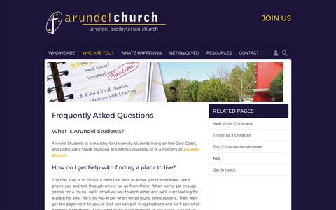 Screenshot of FAQ Page arundel.org.au - Arundel Presbyterian Church | Frequently Asked Questions - captured Oct. 8, 2017