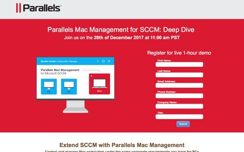 Screenshot of Landing Page parallels.com - Parallels Mac Management for SCCM: Deep Dive - captured March 5, 2018