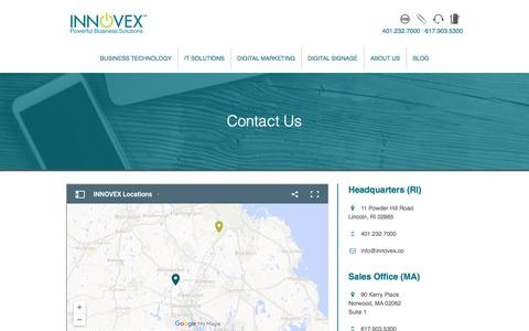Screenshot of Contact Page innovex.co - Contact Us - captured March 14, 2017