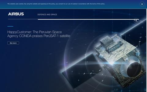 Screenshot of Home Page space-airbusds.com - Airbus Defence and Space - Satellite, Security, Space and Defence Solutions - captured July 7, 2017