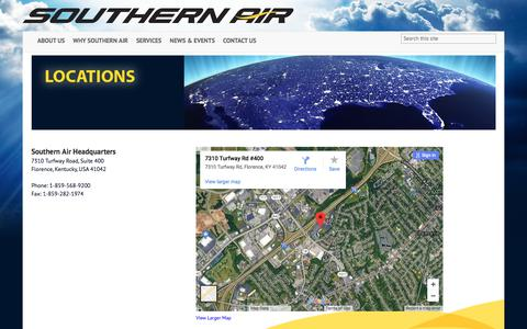 Screenshot of Locations Page southernair.com - location - captured July 12, 2018