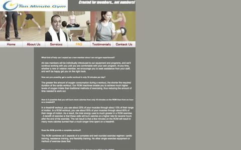 Screenshot of FAQ Page thetenminutegym.com - FAQ - The Ten Minute Gym - captured Oct. 9, 2014