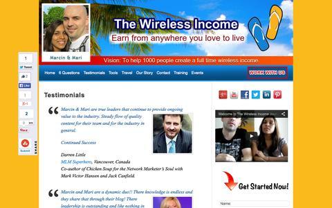 Screenshot of Testimonials Page thewirelessincome.com - Testimonials | The Wireless Income - captured Sept. 23, 2014