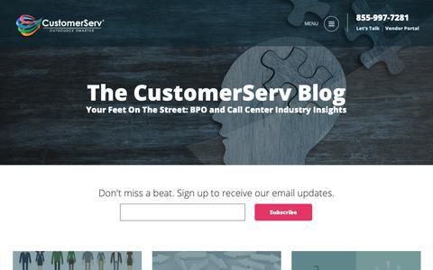 Screenshot of Blog customerserv.com - BPO and Call Center Industry Insights l CustomerServ Blog - captured Sept. 30, 2018