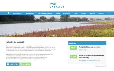 Screenshot of Home Page cascade-zandgrind.nl - Cascade | branchevereniging voor zand- en grindproducenten - captured Oct. 23, 2018