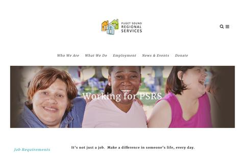 Screenshot of Jobs Page gopsrs.org - Working for PSRS - captured Sept. 29, 2018