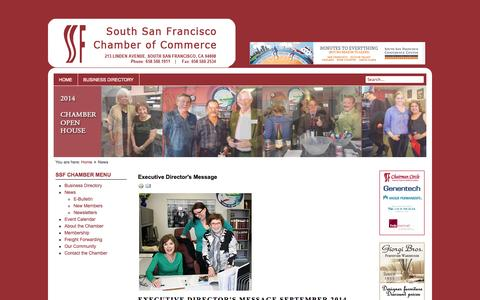 Screenshot of Press Page ssfchamber.com - South San Francisco Chamber of Commerce - News - captured Oct. 1, 2014