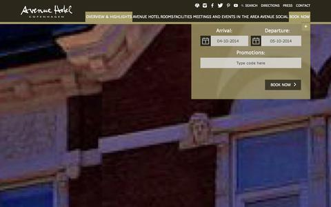 Screenshot of Home Page avenuehotel.dk - Frontpage | Avenue Hotel - captured Oct. 4, 2014