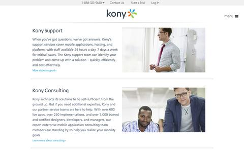 Screenshot of Services Page kony.com - Kony Services - captured Oct. 10, 2014