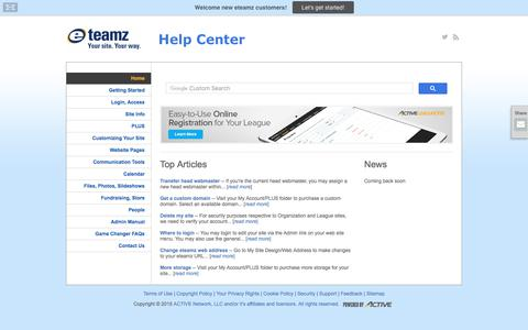 Screenshot of Support Page eteamz.com - Home - captured June 20, 2017
