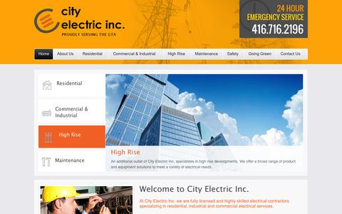 Screenshot of Home Page cityelectricinc.ca - City Electric Inc. | Residential and Commercial Electrician | Toronto and the GTA - captured Sept. 29, 2014