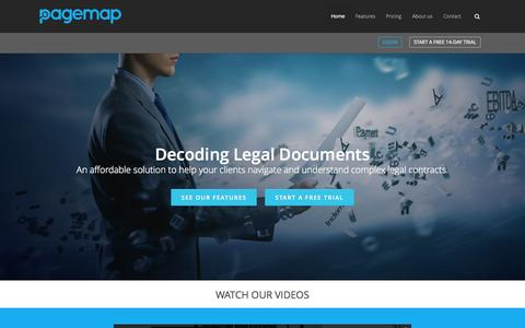 Screenshot of Home Page pagemap.com - Pagemap.com | Decoding Legal Documents - captured June 17, 2015