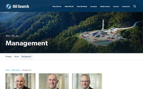 Screenshot of Team Page oilsearch.com - Management -     Oil Search - captured Nov. 1, 2018