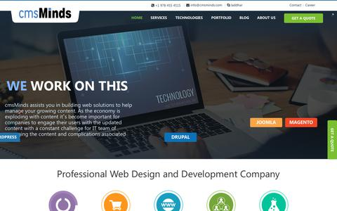 Screenshot of Home Page cmsminds.com - Professional Web Design and Development Company in USA - captured June 22, 2017