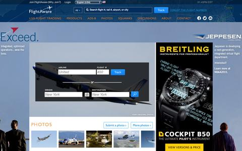 Screenshot of Home Page flightaware.com - FlightAware - Flight Tracker / Flight Status / Flight Tracking - captured Nov. 3, 2015