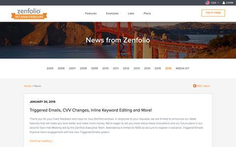 Screenshot of Press Page zenfolio.com - News - Zenfolio - captured March 29, 2016