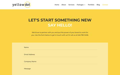 Screenshot of Contact Page yellowdotgroup.com - Contact | Yellowdot - captured Nov. 15, 2018