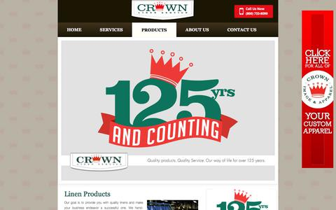 Screenshot of Products Page crownlinen.com - Linen Rental Products For Restaurant, Hospital Or Hotel - captured Aug. 31, 2017