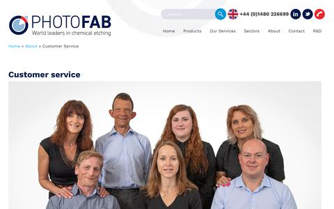 Screenshot of Support Page photofab.co.uk - Photofab - customer service - captured Oct. 3, 2019