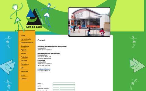 Screenshot of Contact Page aandebasis.nl - Contact - captured Nov. 5, 2014