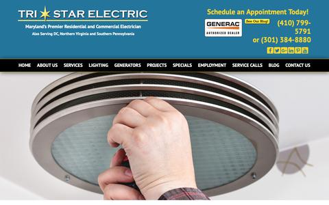 Screenshot of Services Page tristarelectric.net - Residential & Commercial Electrical Services in MD, DC & VA - captured Oct. 20, 2018